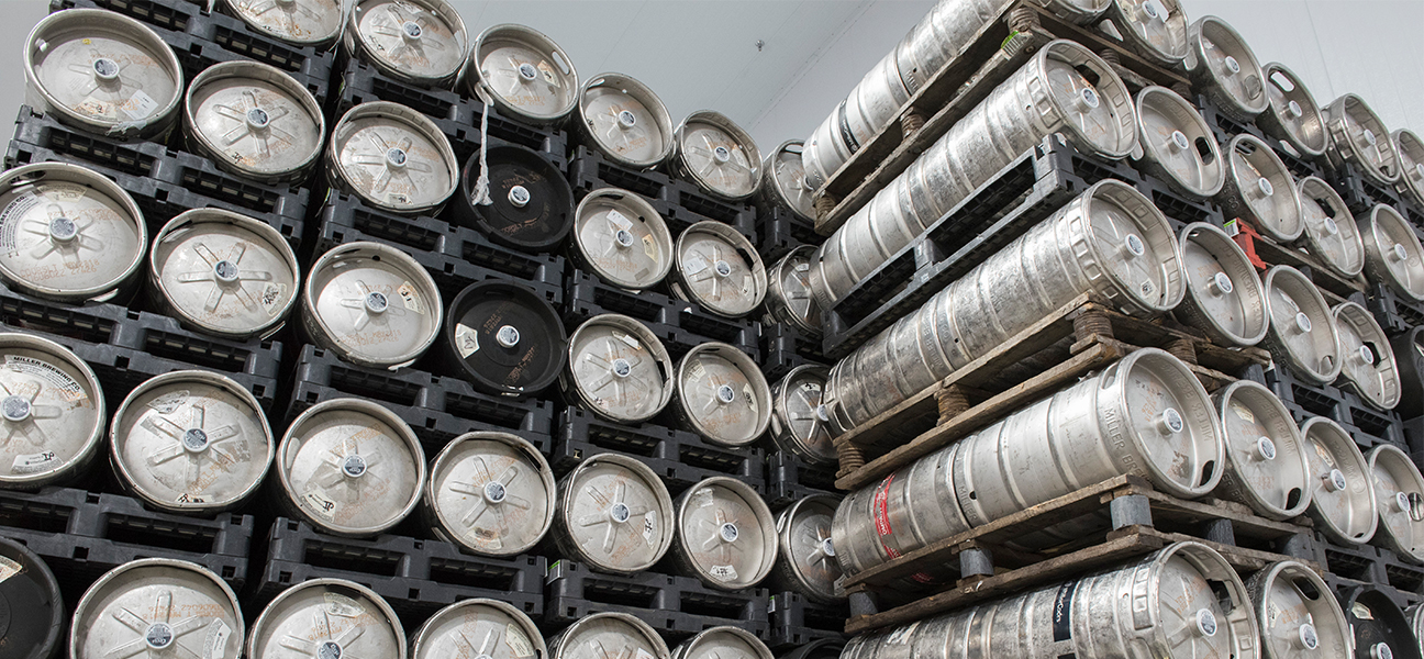 Stack of kegs at Valley Wide Beverage warehouse