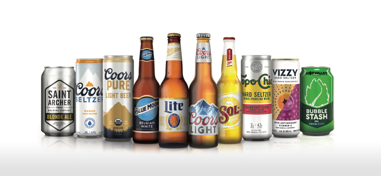 A line of beverages